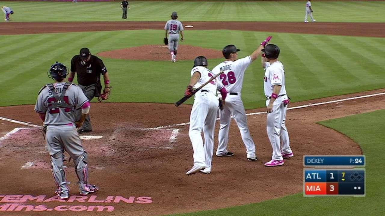 Moore's pinch-hit three-run jack