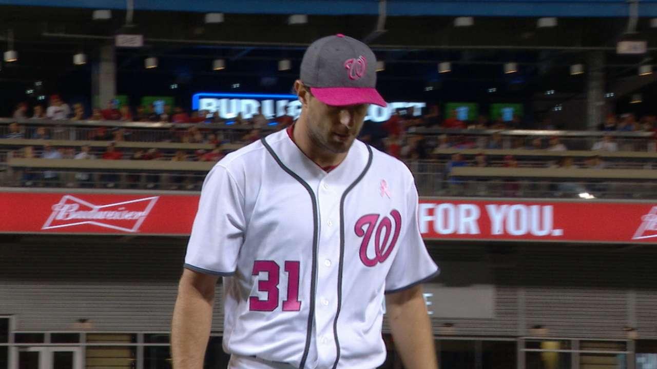 Scherzer pasó un buen susto, pero luego tiró un inning