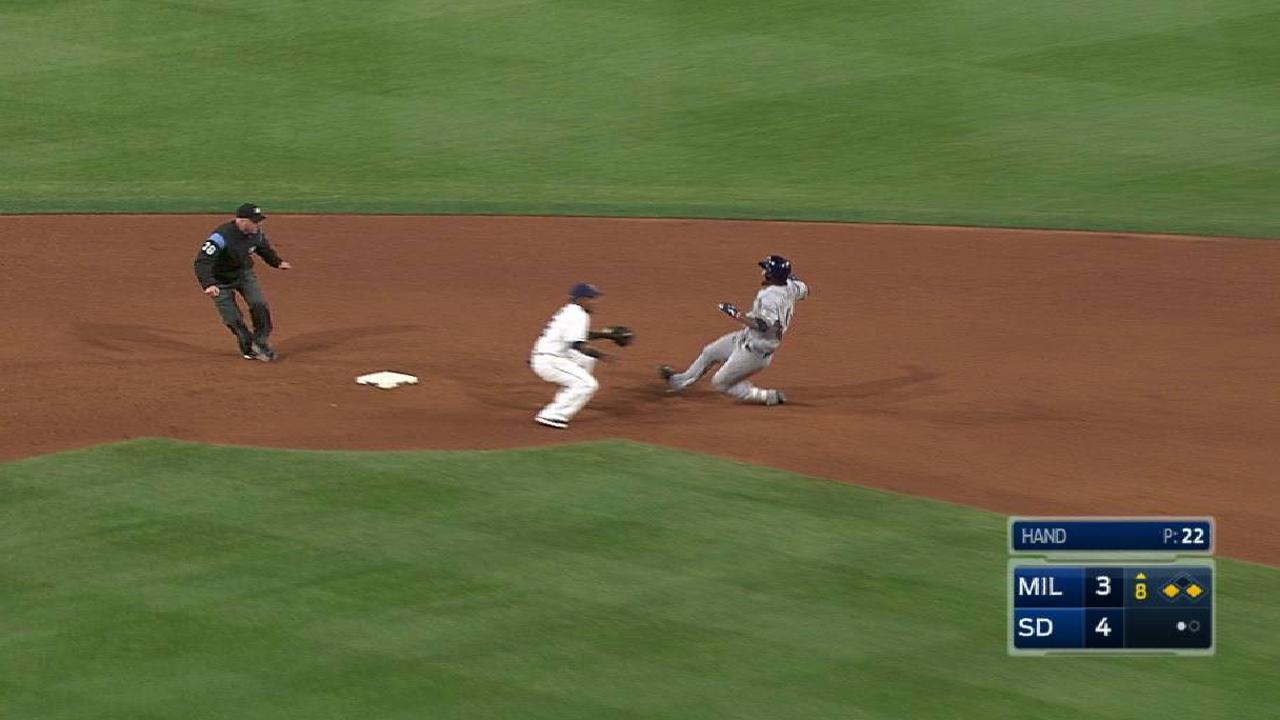 Renfroe's throw nabs Santana