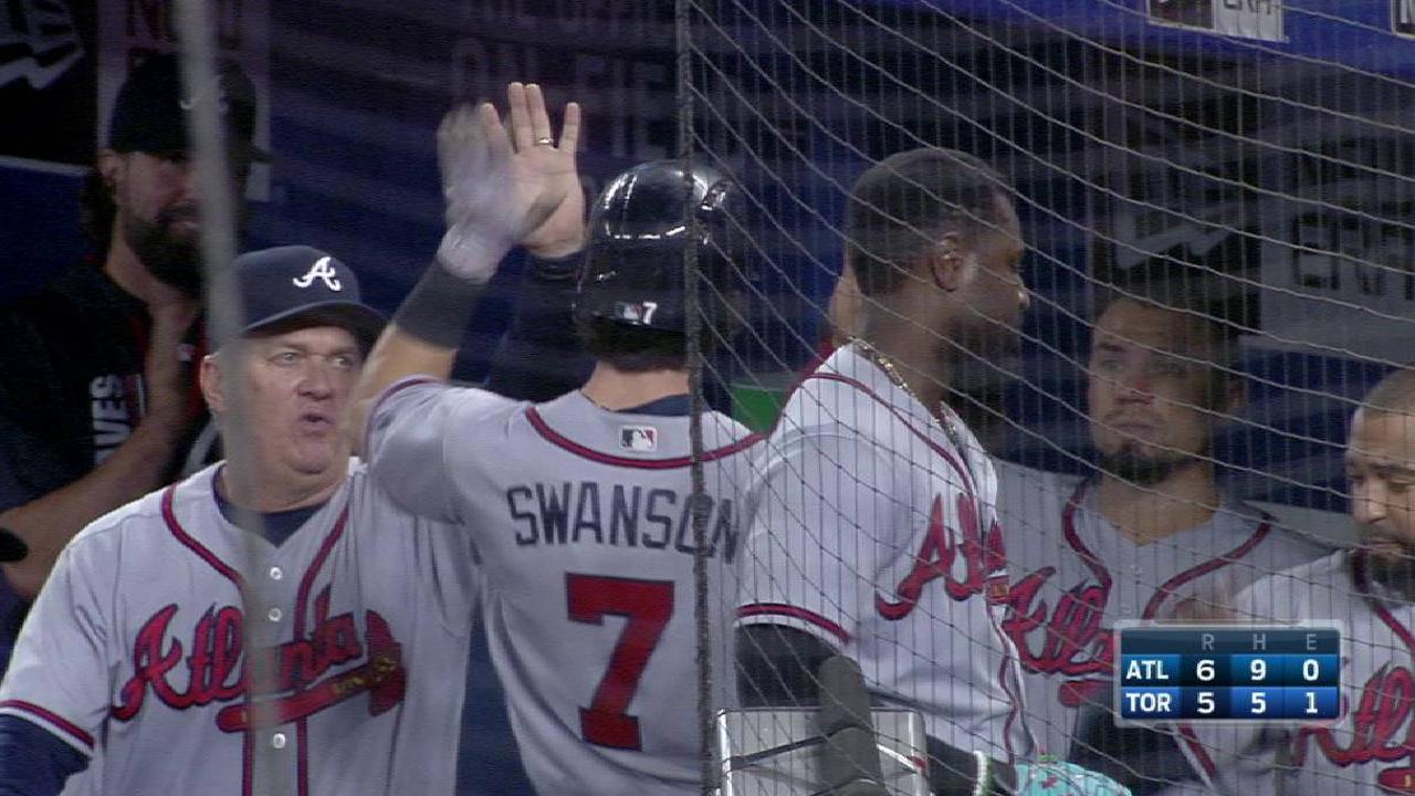 Swanson's go-ahead solo home run