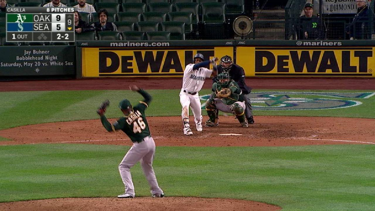 Dyson gets hit by a pitch