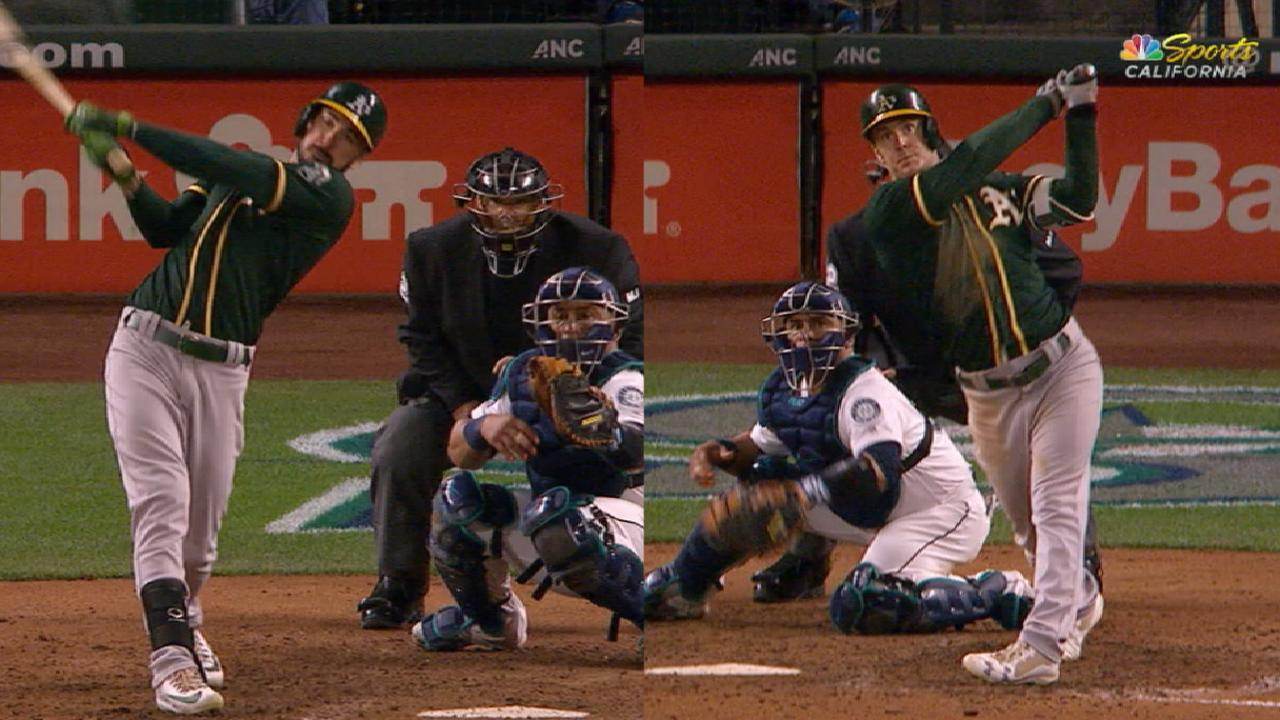 Joyce, Canha HRs power A's comeback win