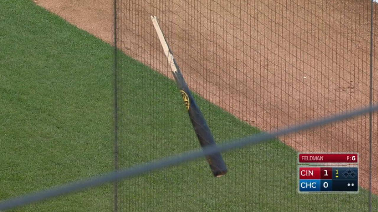 Bryant's bat gets stuck