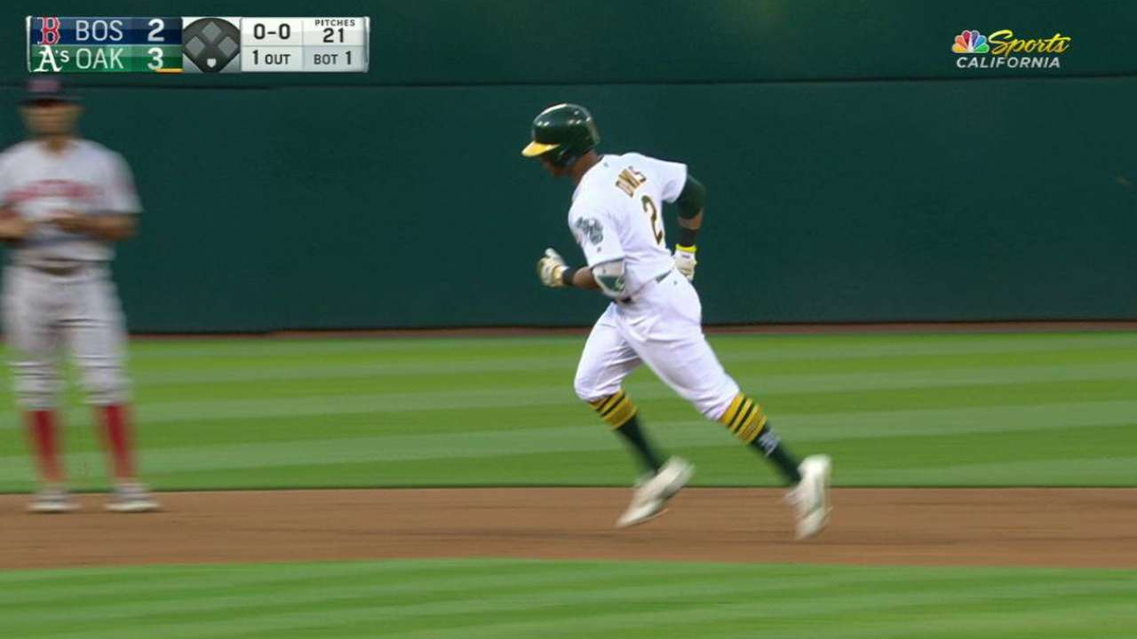 A's belt three homers to take down Red Sox