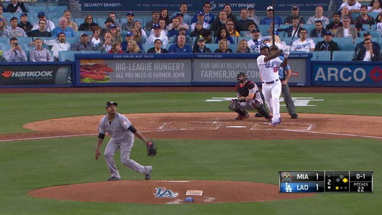 Puig suena bambinazo y Dodgers se imponen a los Marlins