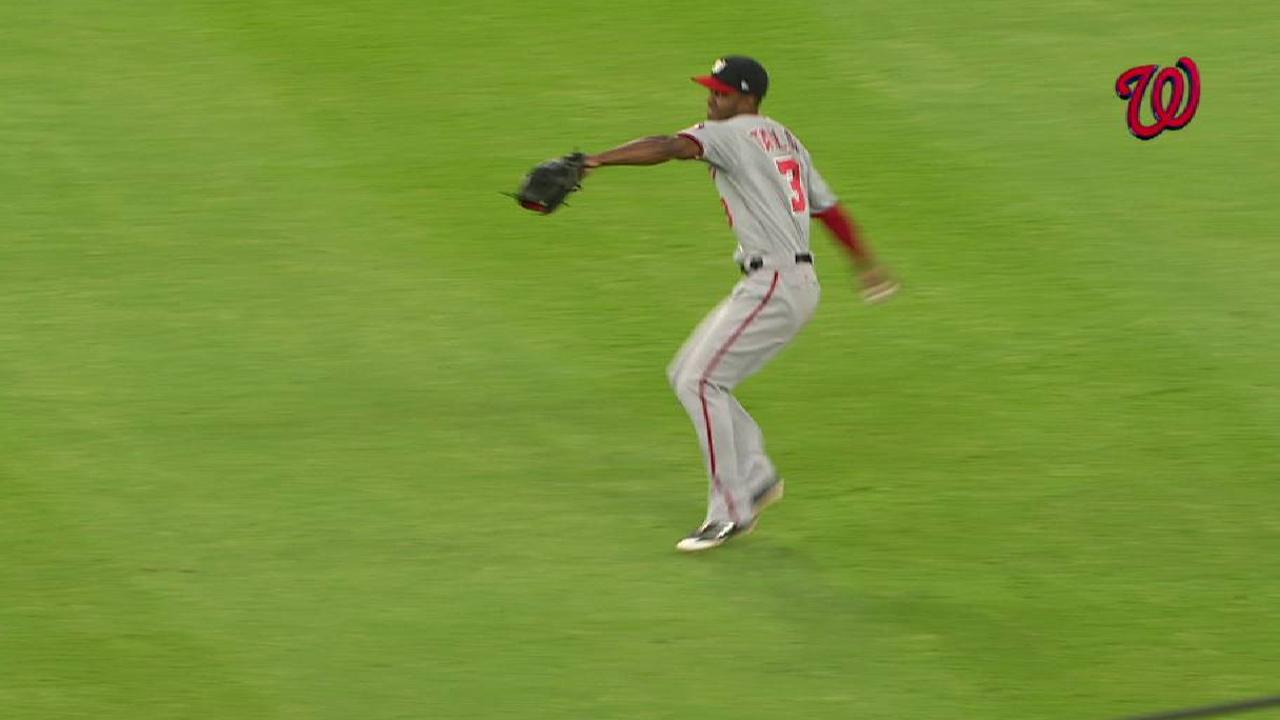 Taylor stepping up in center field for Nats