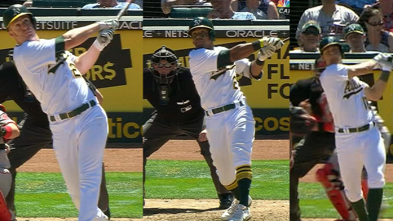 A's smash three homers in 5th