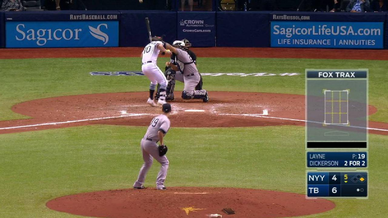 Dickerson gets hit by a pitch