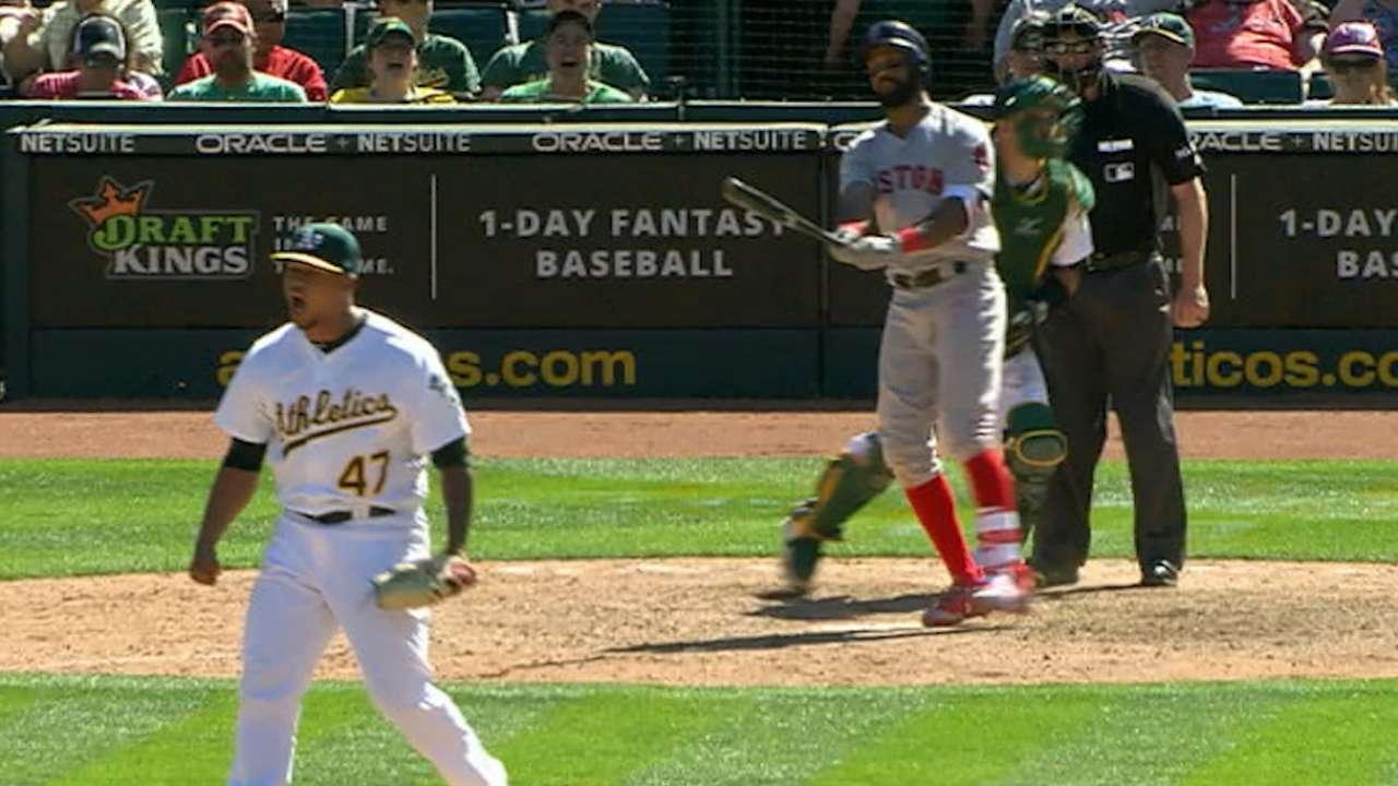 Montas fans five batters