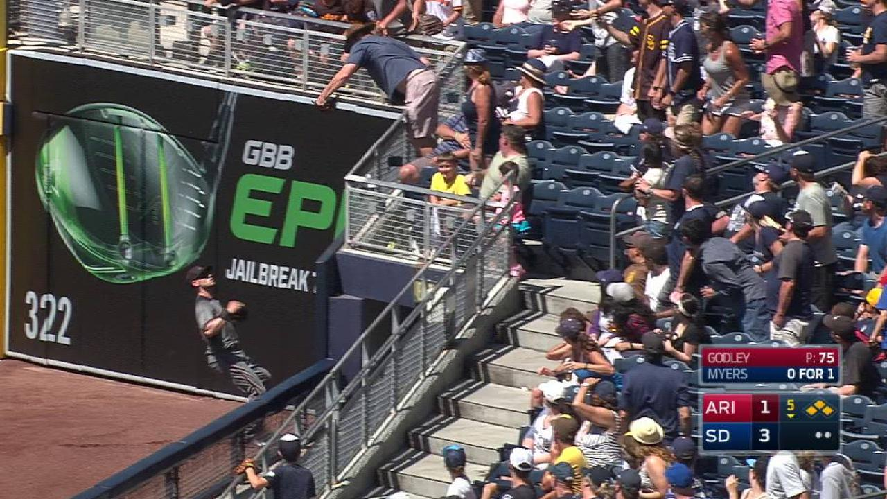 Myers out after fan interference