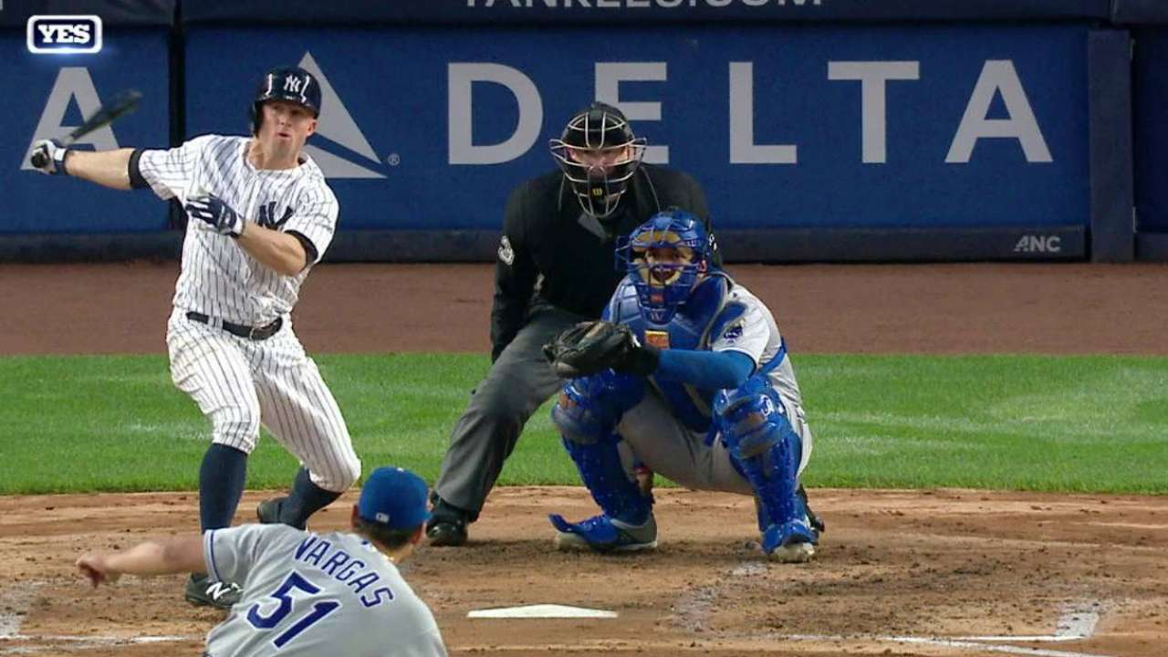Long ball, close call help Yanks top Royals