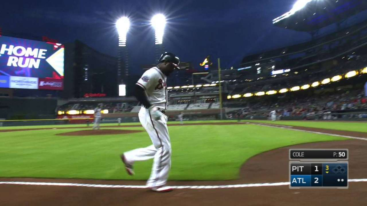 Braves' hit parade backs Folty in win over Bucs