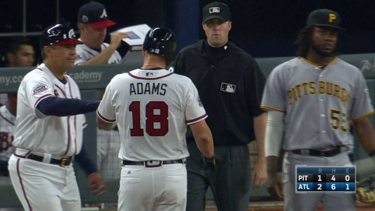 Adams' first hit as a Brave