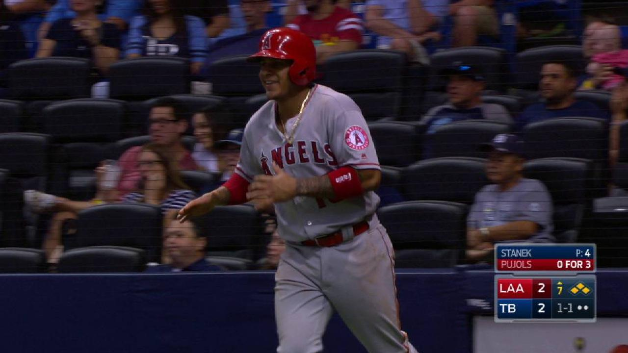 Maybin HR, wild pitch push Angels past Rays