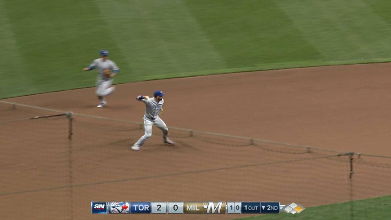 Joey Bats flashes leather during start at 3B