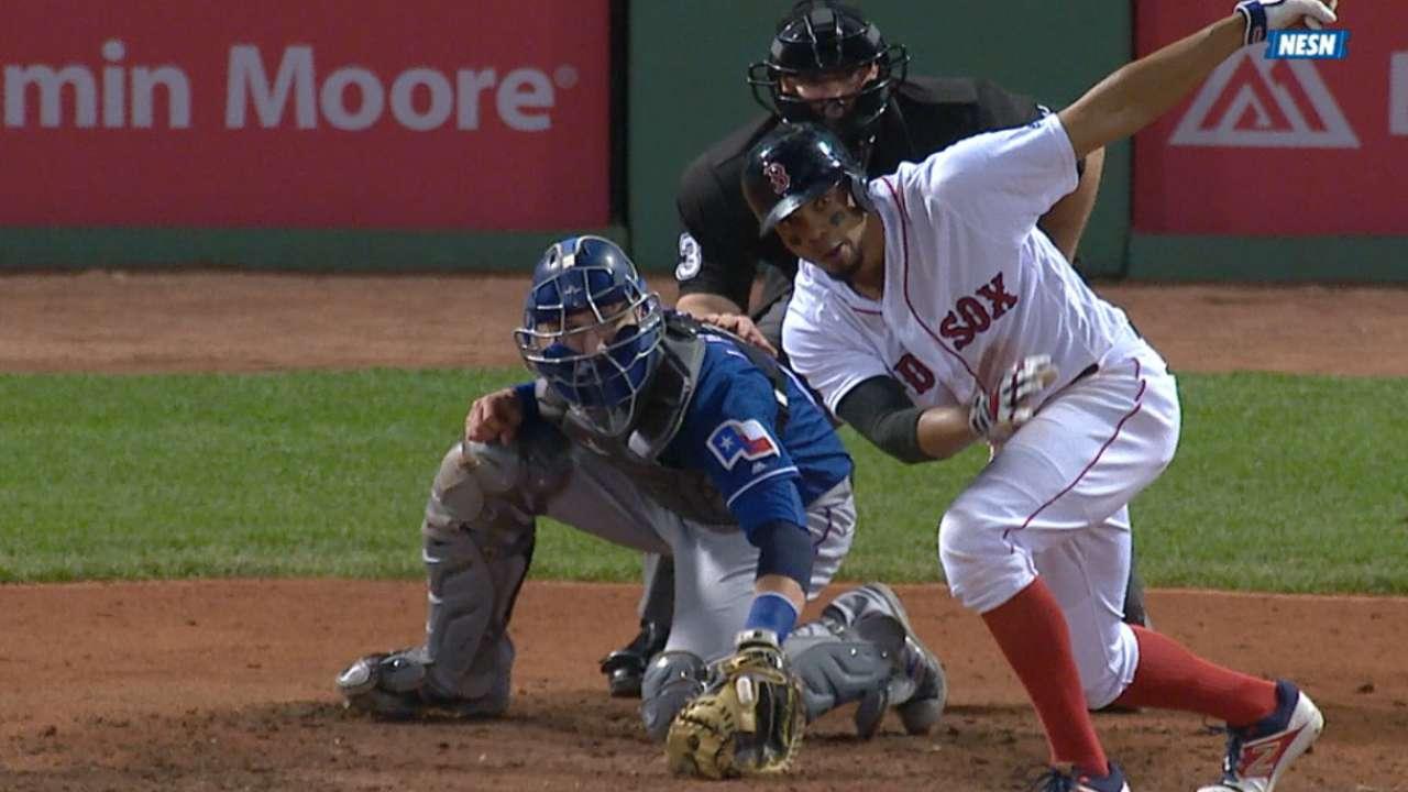 Red Sox swing hot bats, cool off Rangers