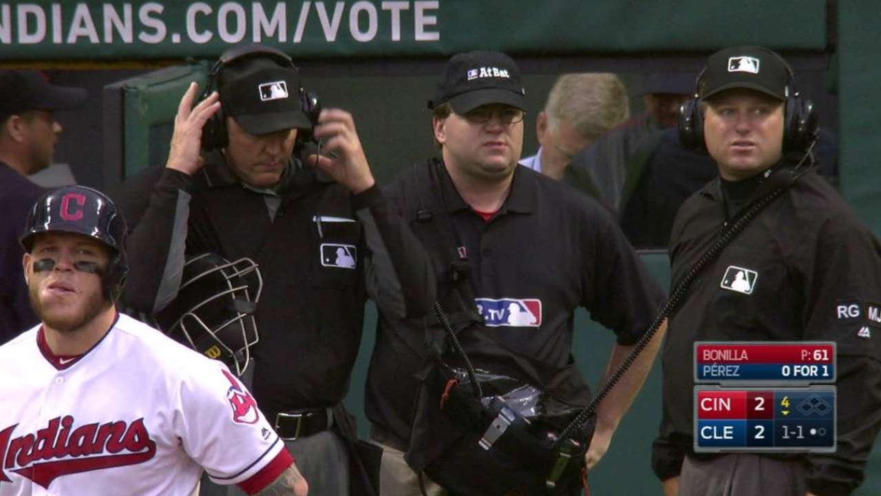 Umpires review Perez's foul ball