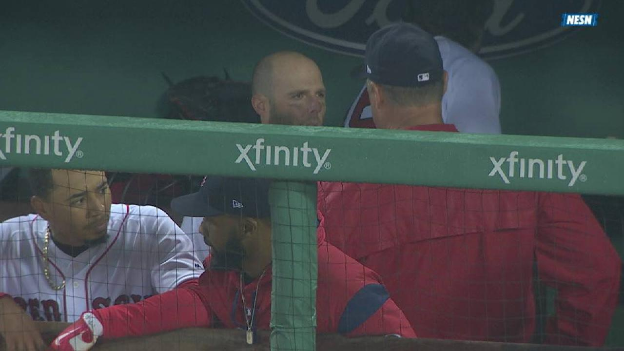 Pedroia has knee pain, out early as precaution