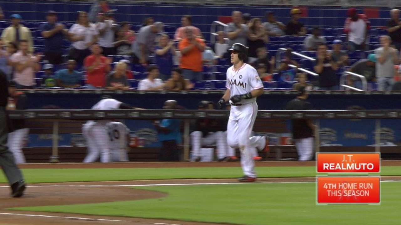 Marlins knock 3 homers to muscle past Angels