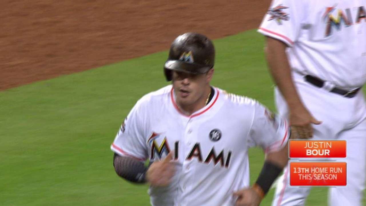 Bour's three-run home run