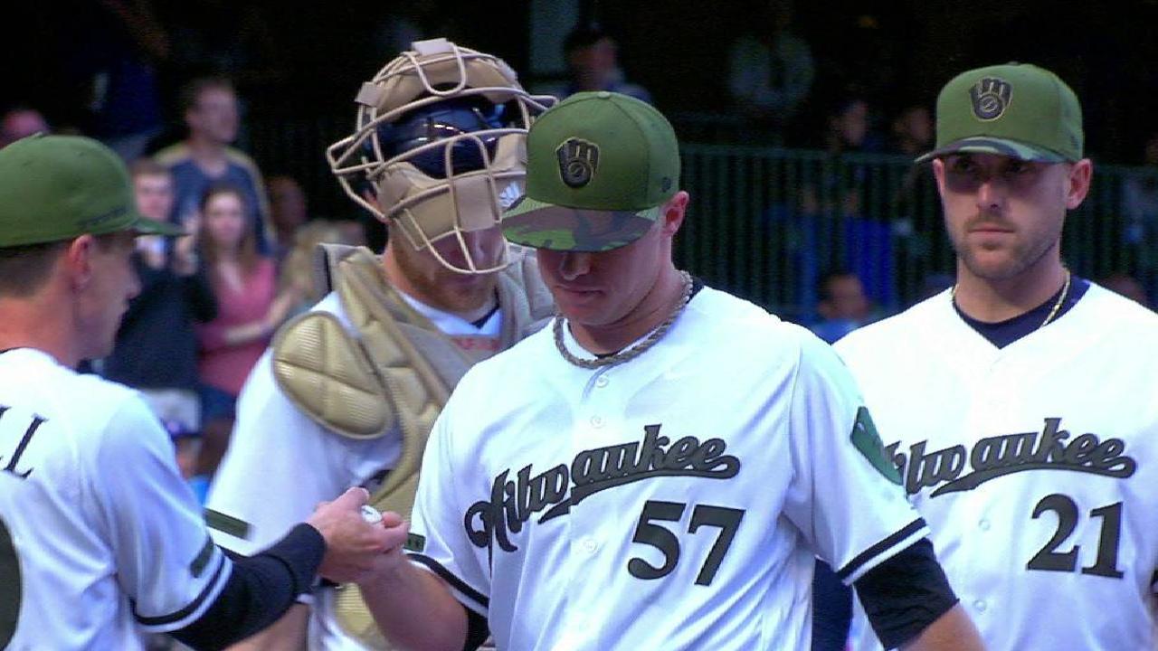 Brewers bats back Anderson's no-hit bid in win