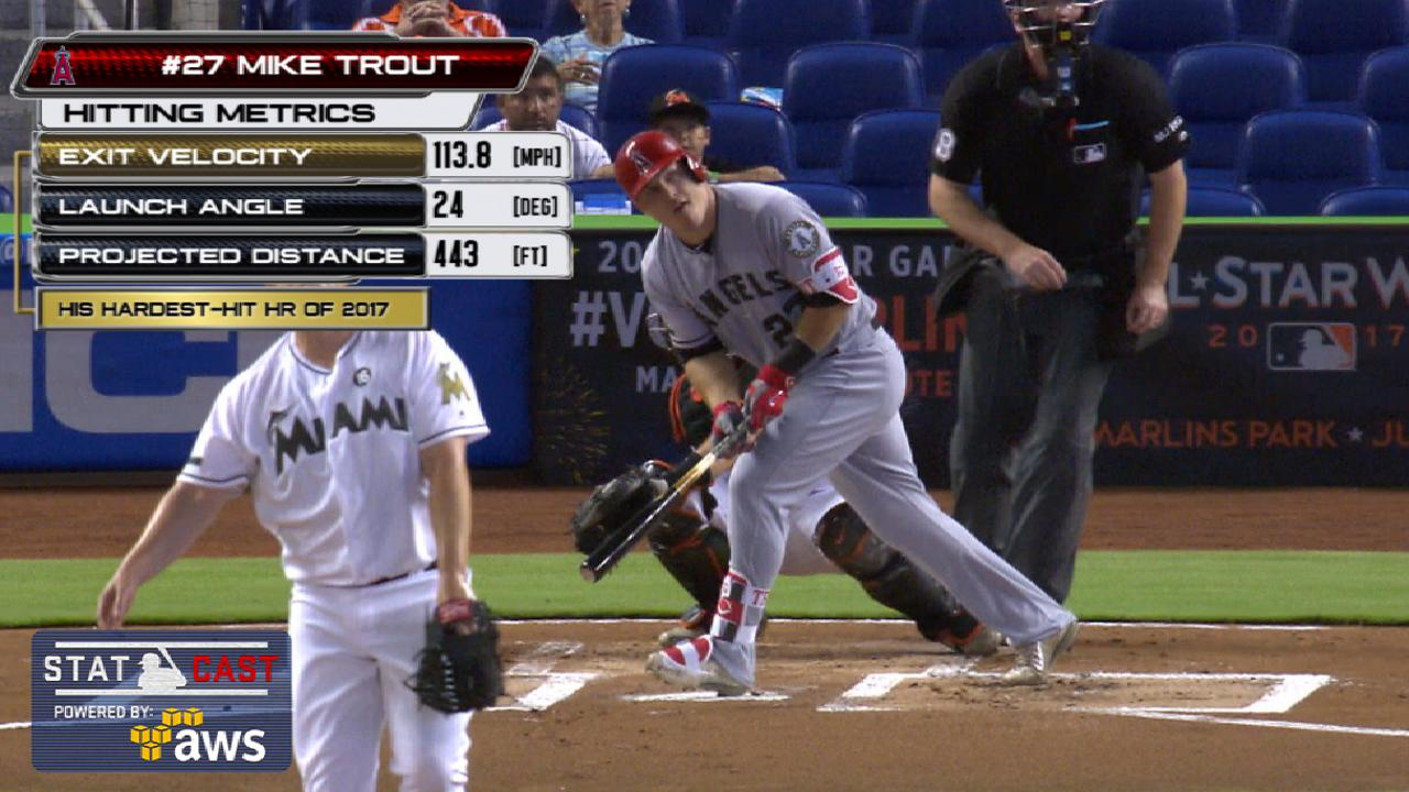 Statcast of the Day: Trout finds rare air in Miami