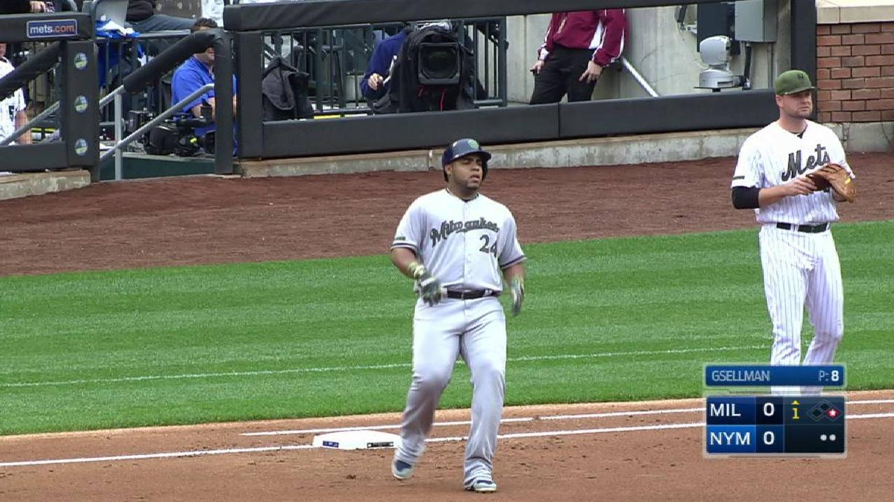 Aguilar making case to crack Crew's lineup