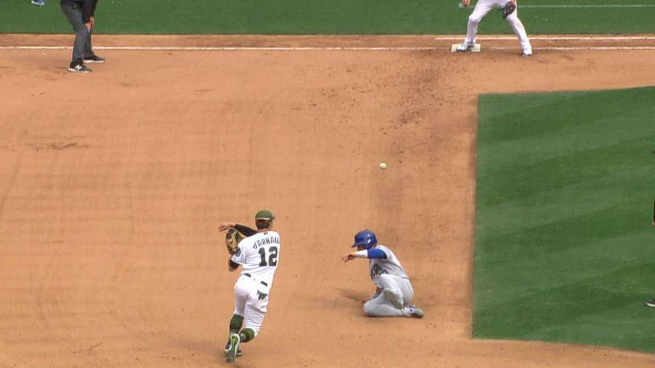 Hand forces a double play