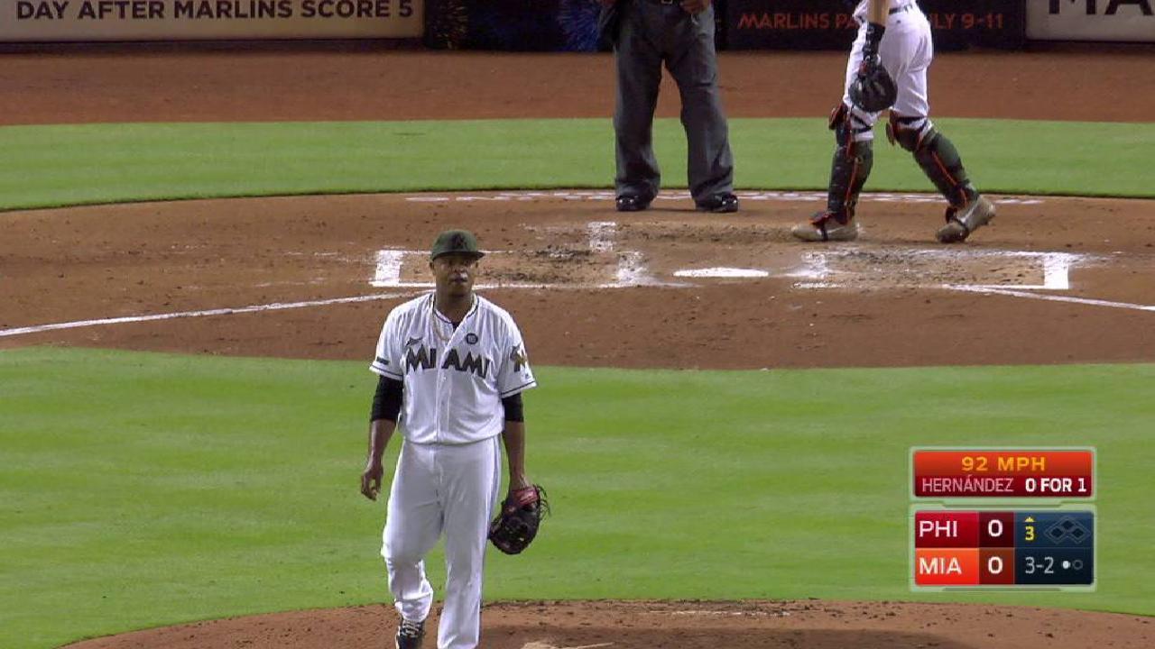 Volquez gets Hernandez looking