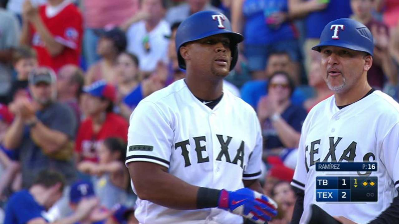 Beltre's first hit of the season