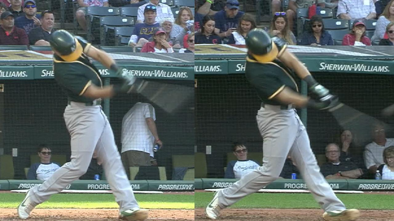 Pinder's two homers vs. Indians