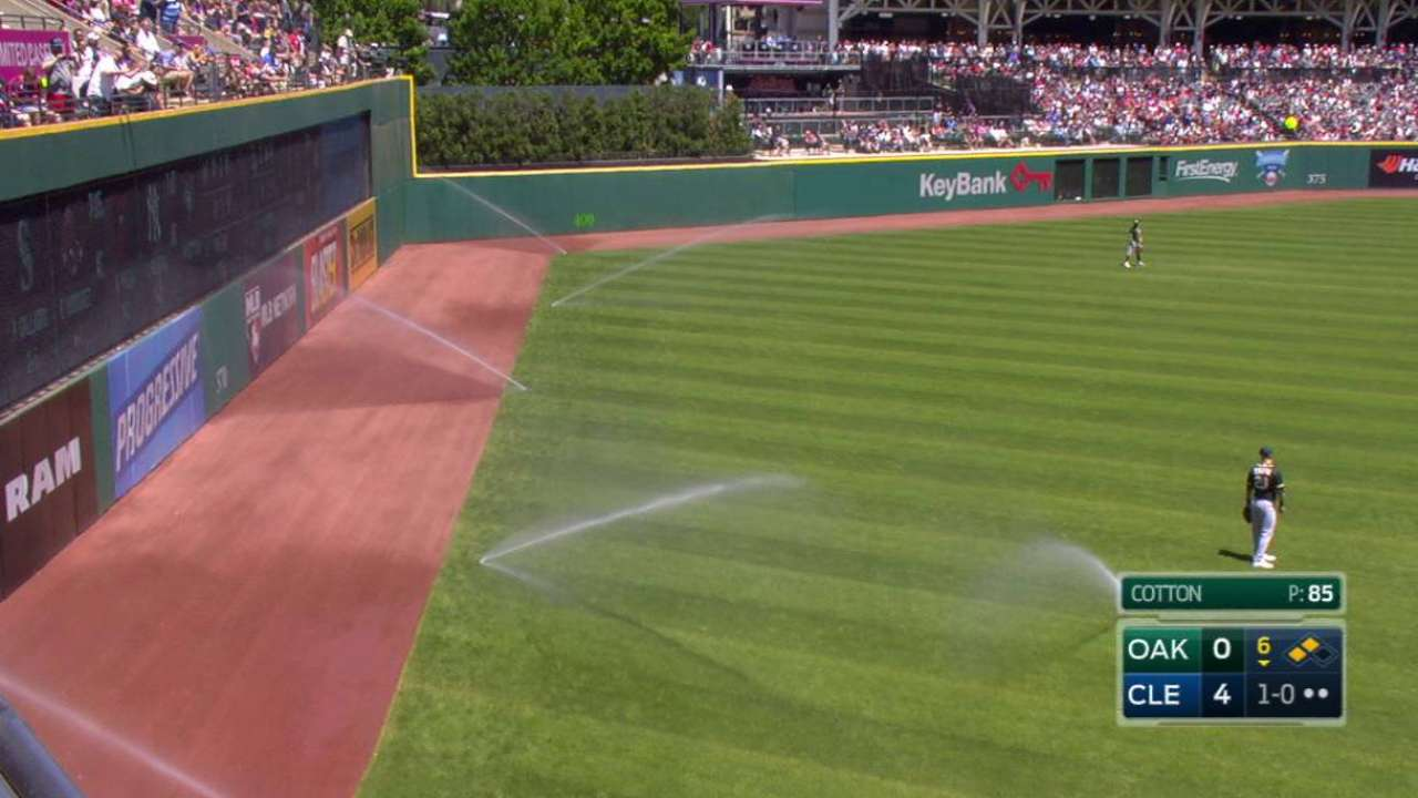 Spray delay: Sprinklers go off in Tribe-A's 6th