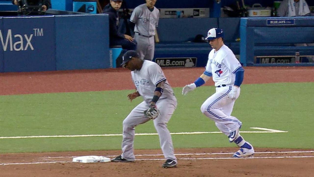 Smoak reaches after review