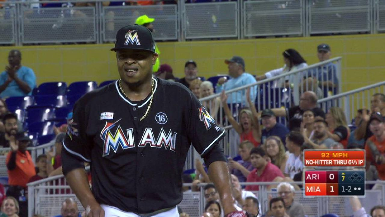 Volquez keeps no-no alive