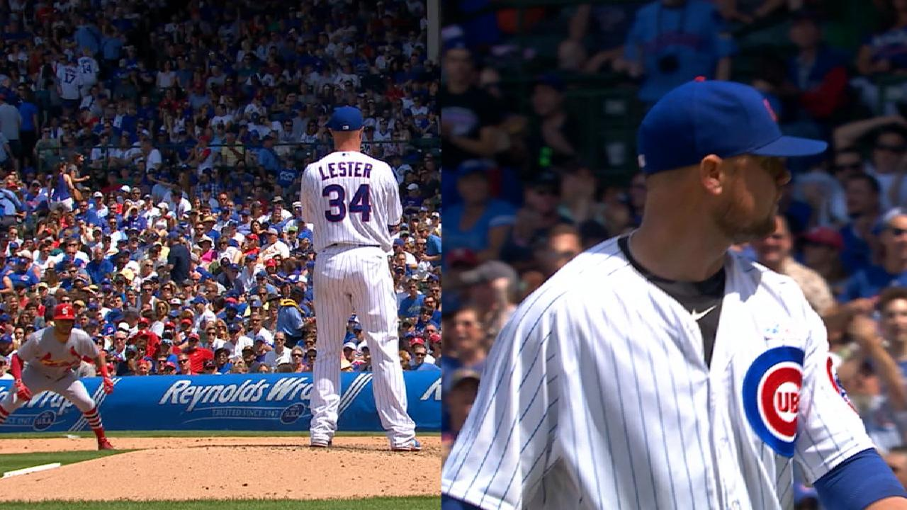 Lester tested, foils strategy with rare pickoff