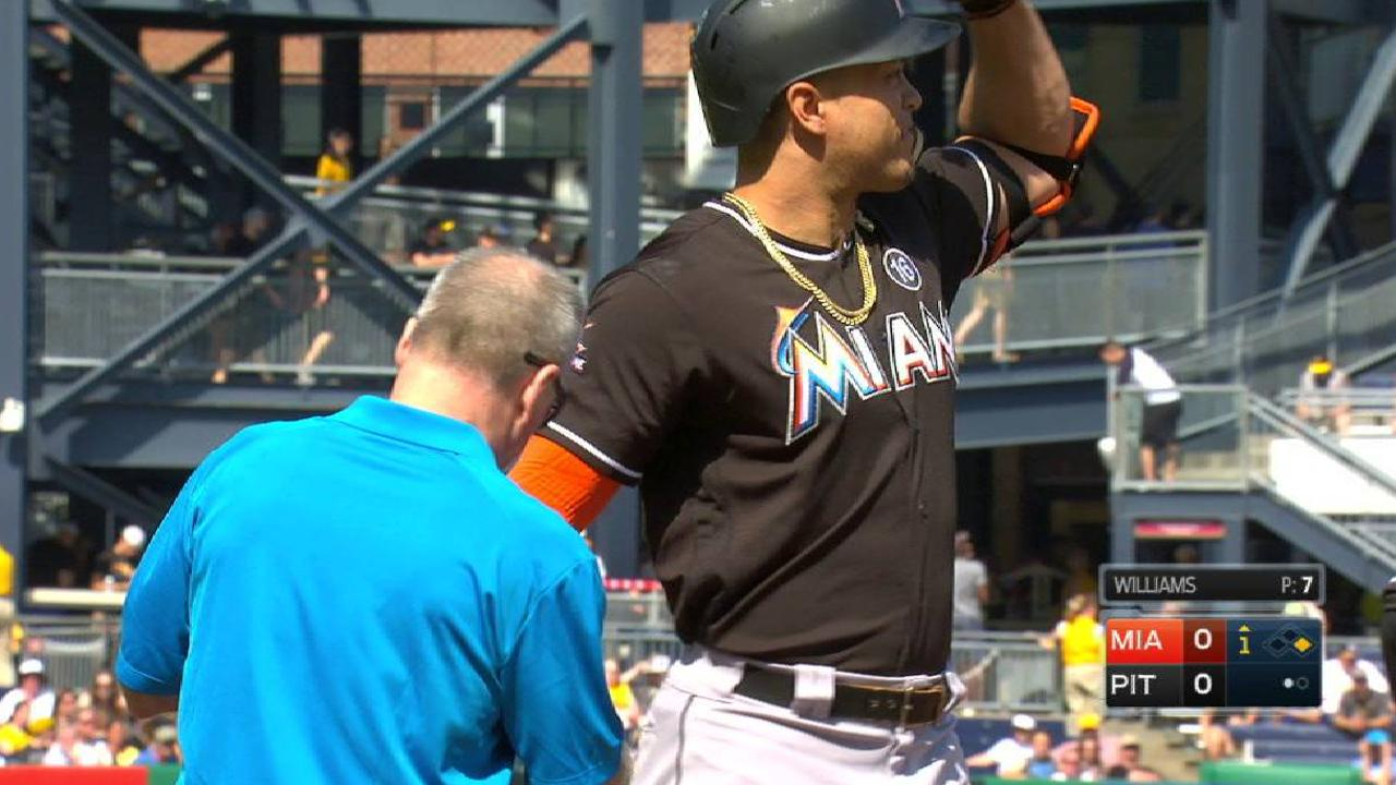 Stanton exits game after HBP