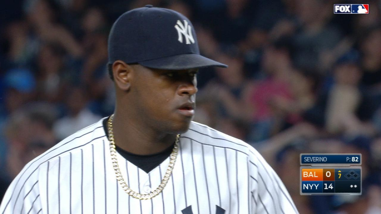 Yanks hit 5 HRs to back brilliant Severino