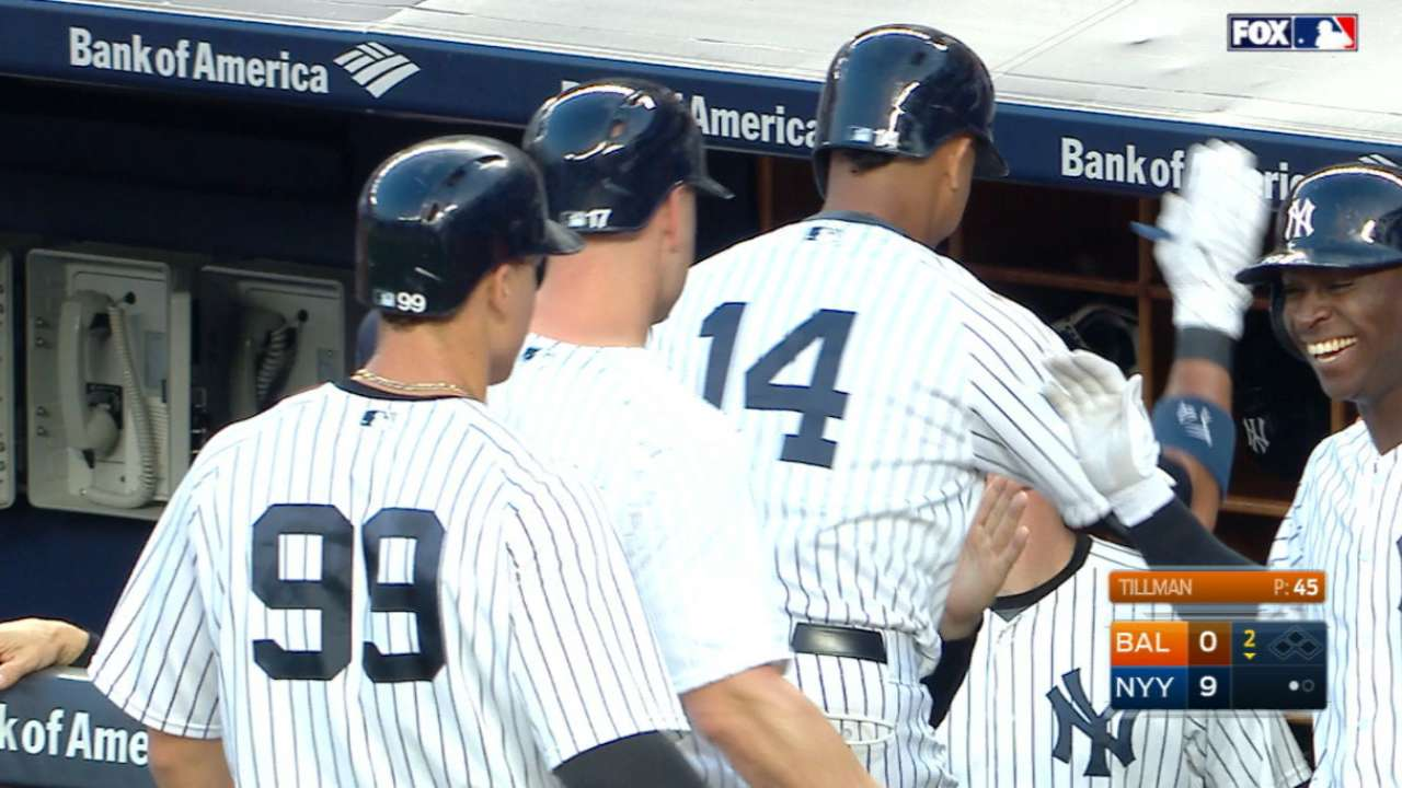 Yanks crush five homers vs. O's