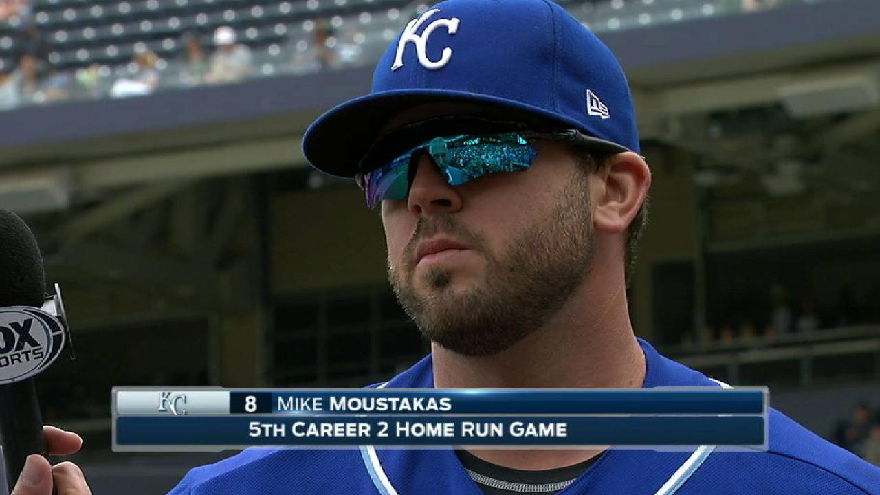 Moustakas on two-homer game