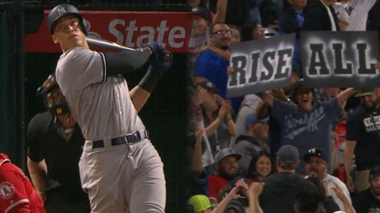 Cañonazo No. 22 de Judge sacó a flote a Yankees en Anaheim