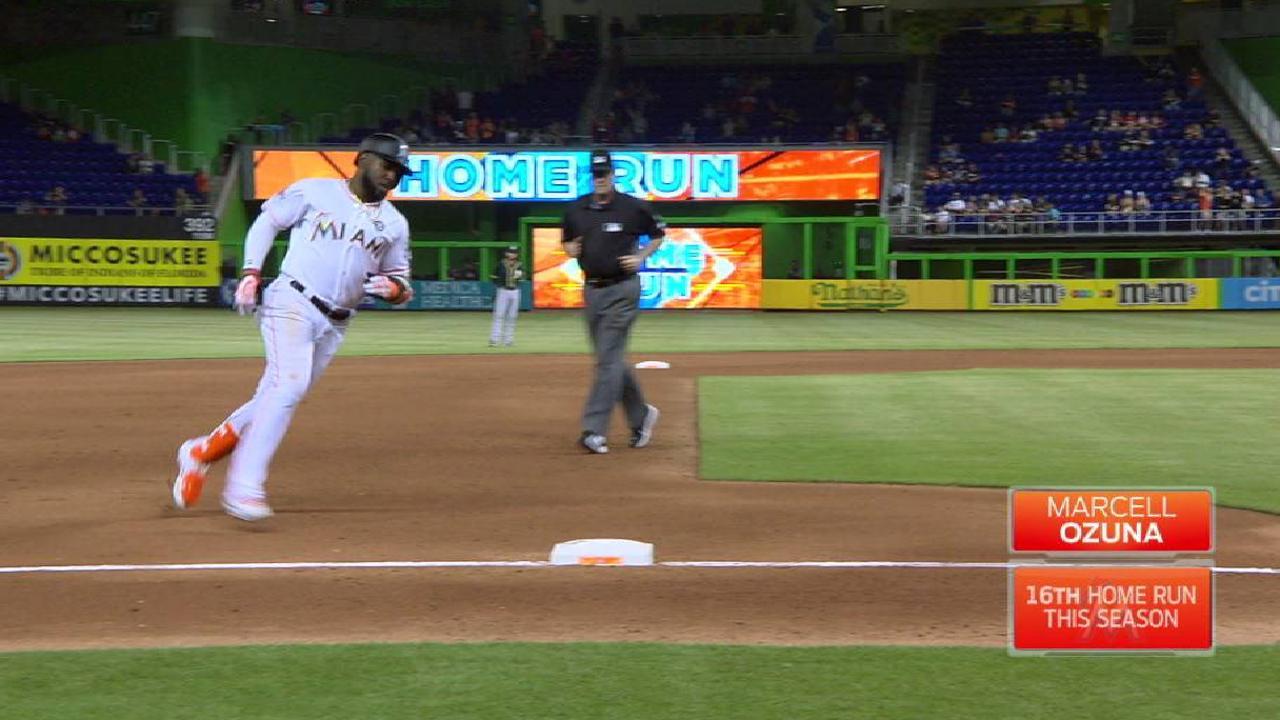 Ozuna, Stanton homer as Marlins 3-hit A's