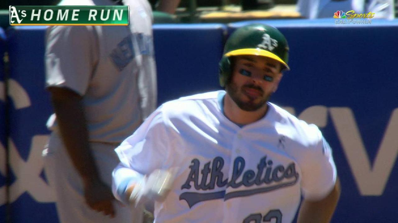 A's 3 homers hand Yanks 5th straight loss