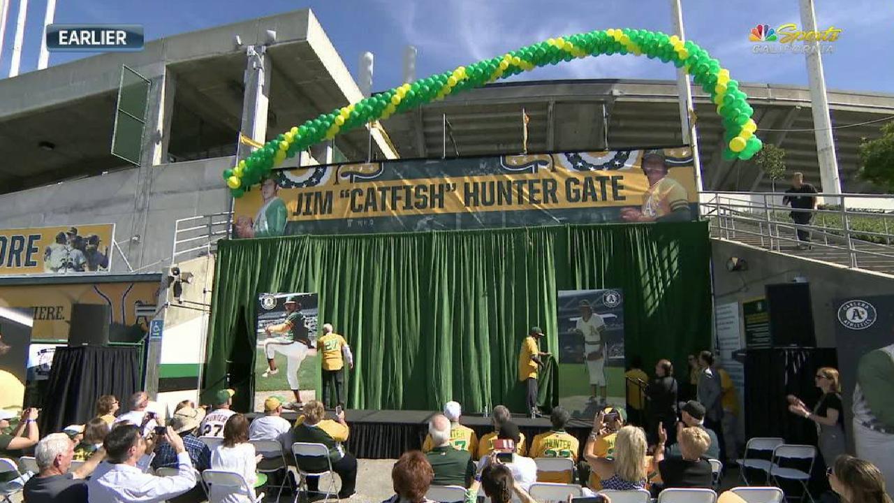 A's unveil Catfish Hunter Gate at Coliseum
