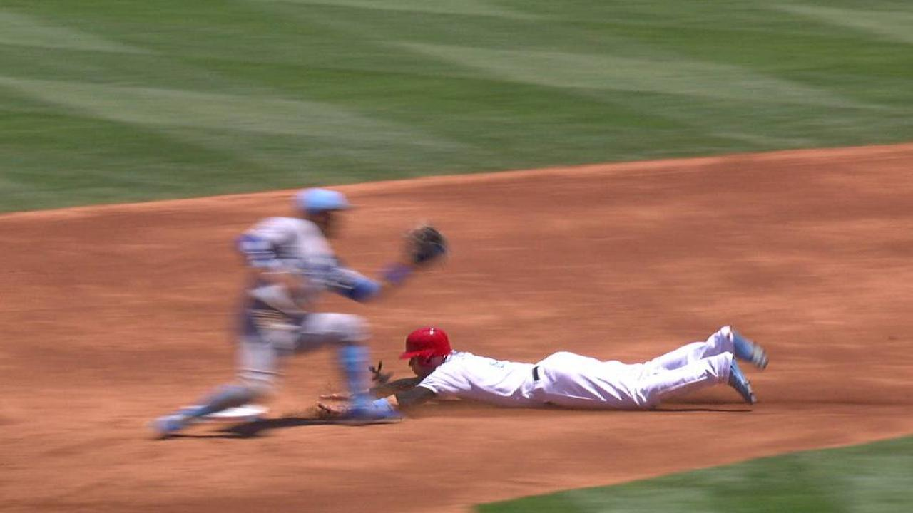 Simmons steals second base