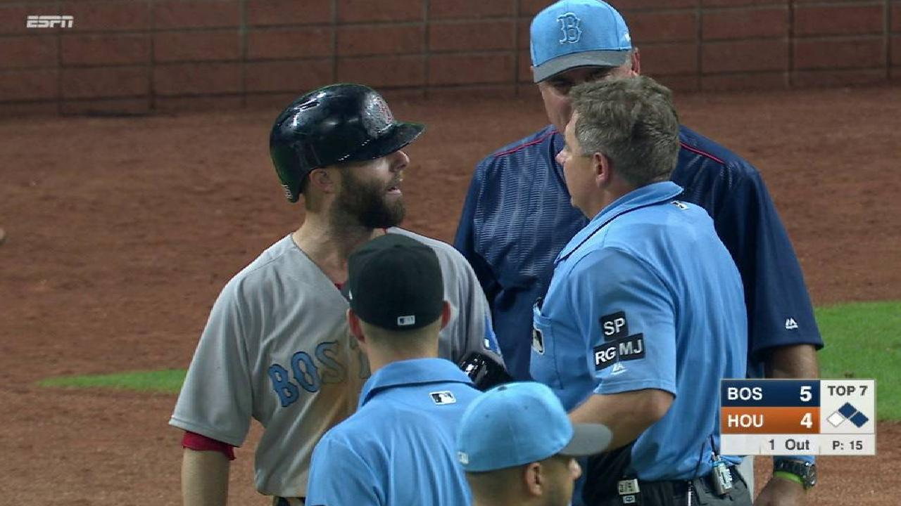 Pedroia gets hit, teams warned