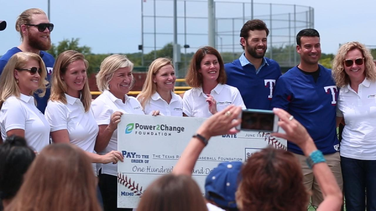 Rangers teach campers at Play Ball event