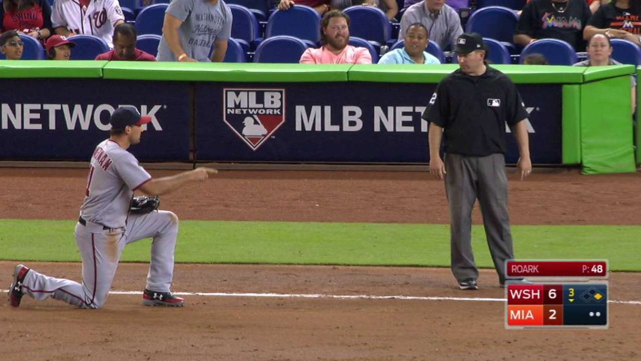 Stanton beats out infield single