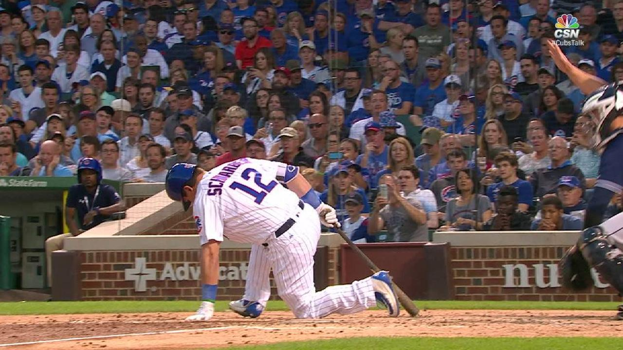 Schwarber fouls ball off ankle