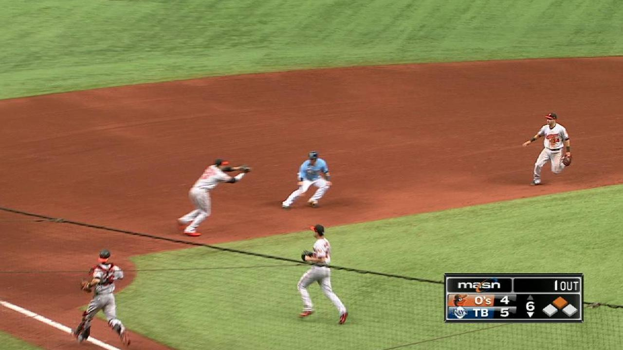 Bleier's great stop leads to out