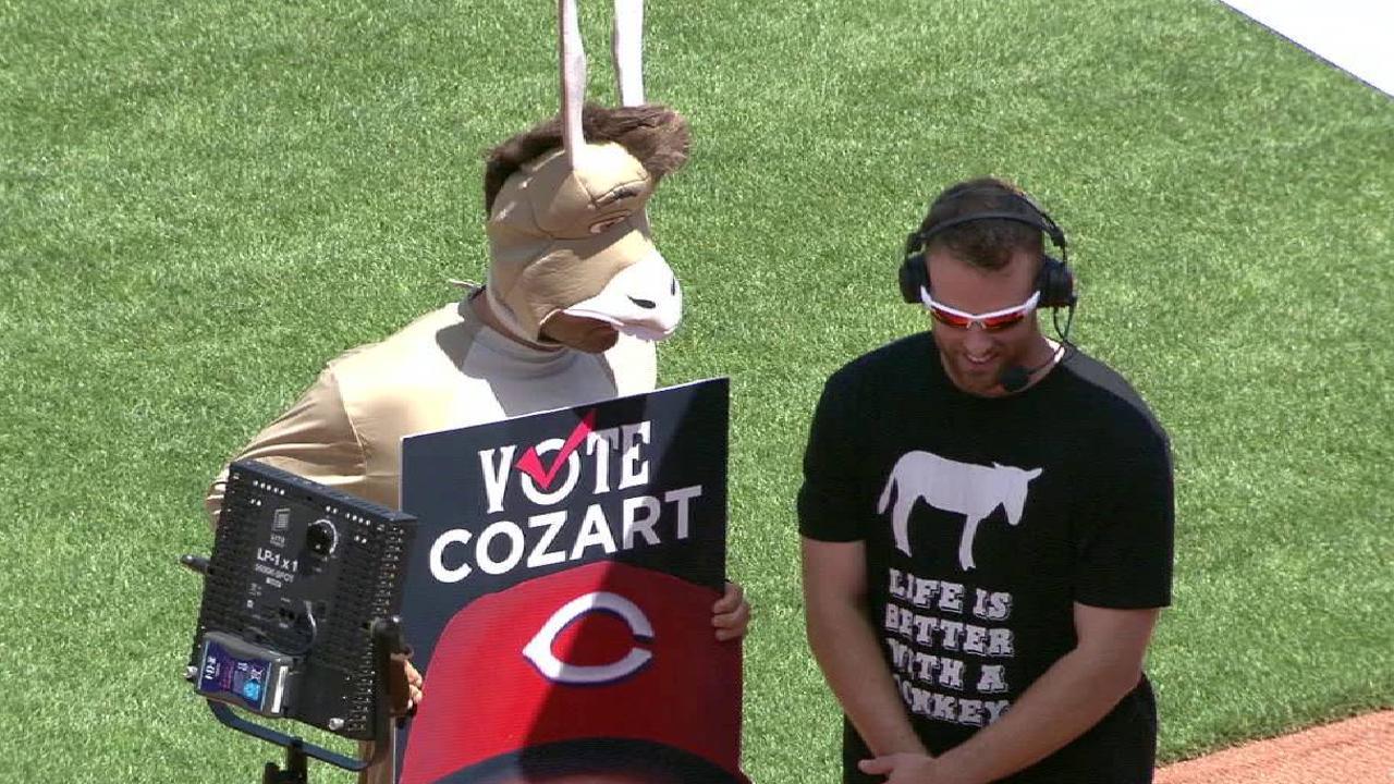 Votto dresses as a donkey